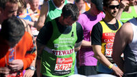 London marathon: runners wear black ribbons and hold a 30-second silence for the Boston marathon victims