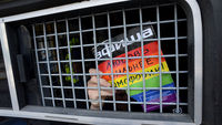 Russian riot policemen detain gay and LGBT rights activists during unauthorized gay rights activists rally in cental Moscow on May 25, 2013