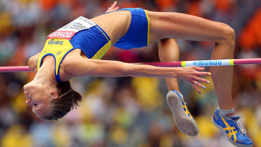 Emma Green Tregaro of Sweden competes in the Women's High Jump qualification during Day Six of the 14th IAAF World Athletics Championships Moscow 2013