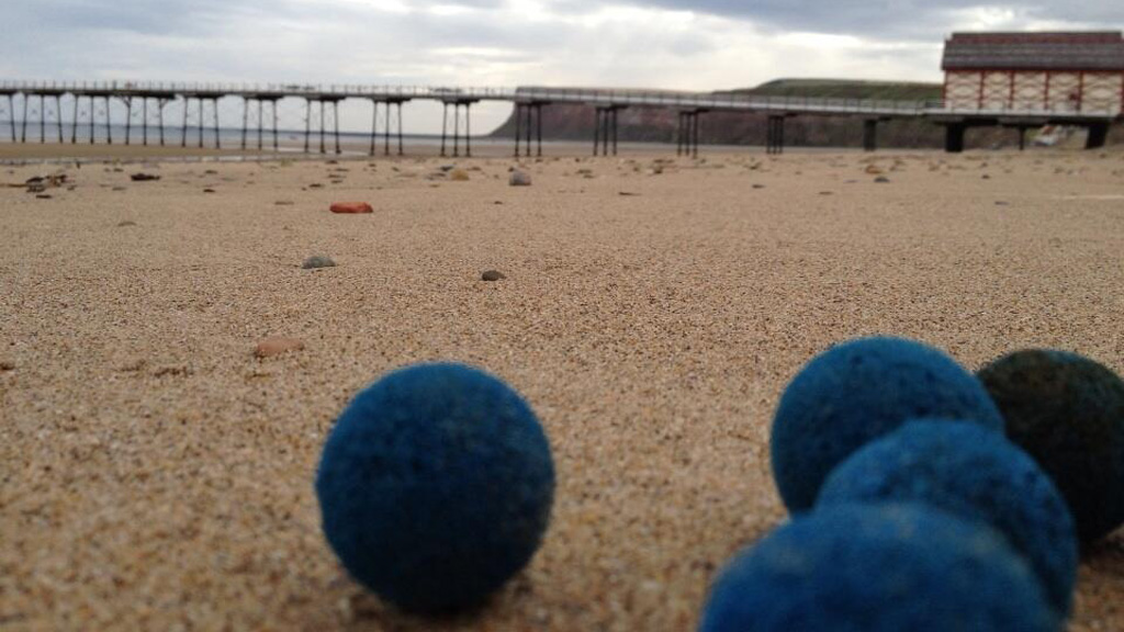 Blue balls found on a beach in north yorkshire