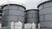 Thousands of litres of nuclear contominated water leaks from a tank at Fukushima (picture: Reuters)