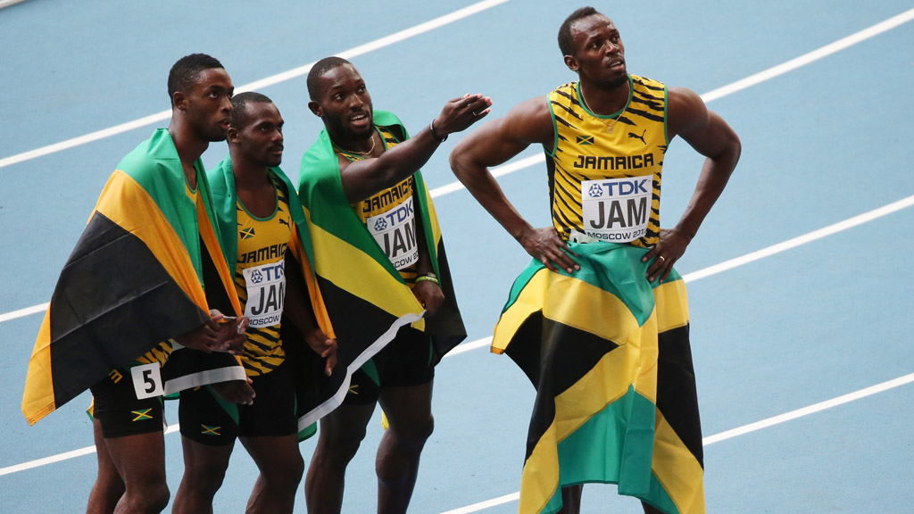 Usain Bolt and his 4 X 100 relay teammates (Getty)
