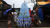 A makeshift Christmas tree in Tacloban, the Phiippines (pictures: Reuters)