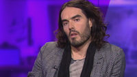 Russell Brand in the Channel 4 News studio.