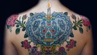 Image of coloured back tattoo, picture courtesy of Sarah Hunjan.