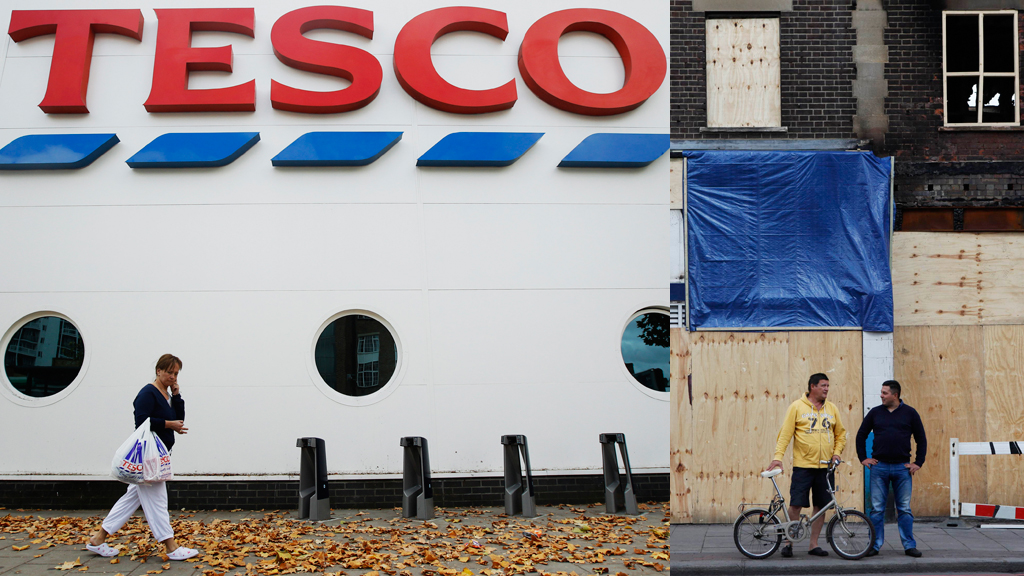 Tesco and boarded up shop (pictures: Reuters)