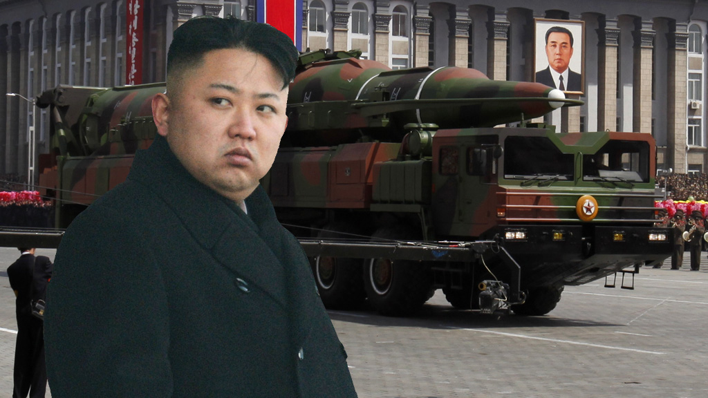 Kim Jong-Un and a missile on parade in North Korea (pictures: Reuters)