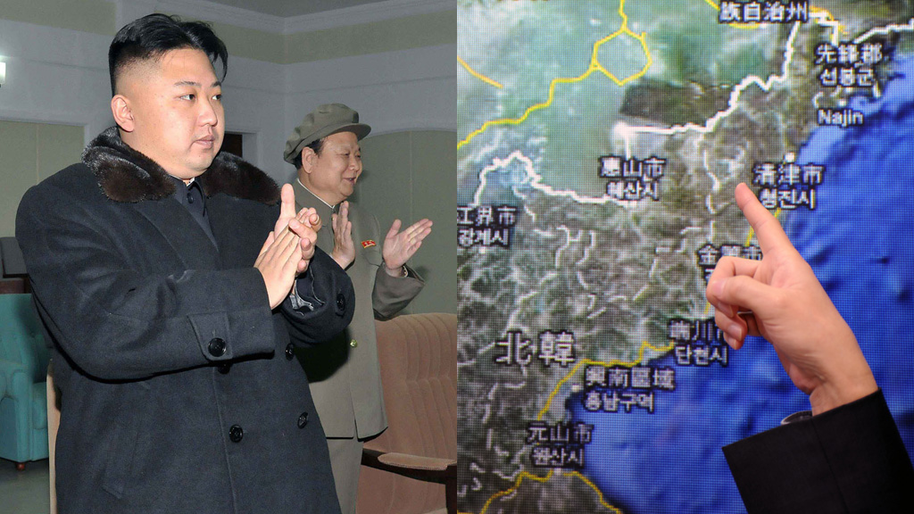 North Korean leader Kim Jong-Un (left) and the nuclear test site (right) - pictures, Getty.
