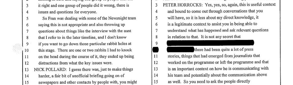 Horrocks transcript from the BBC's Pollard report into Savile