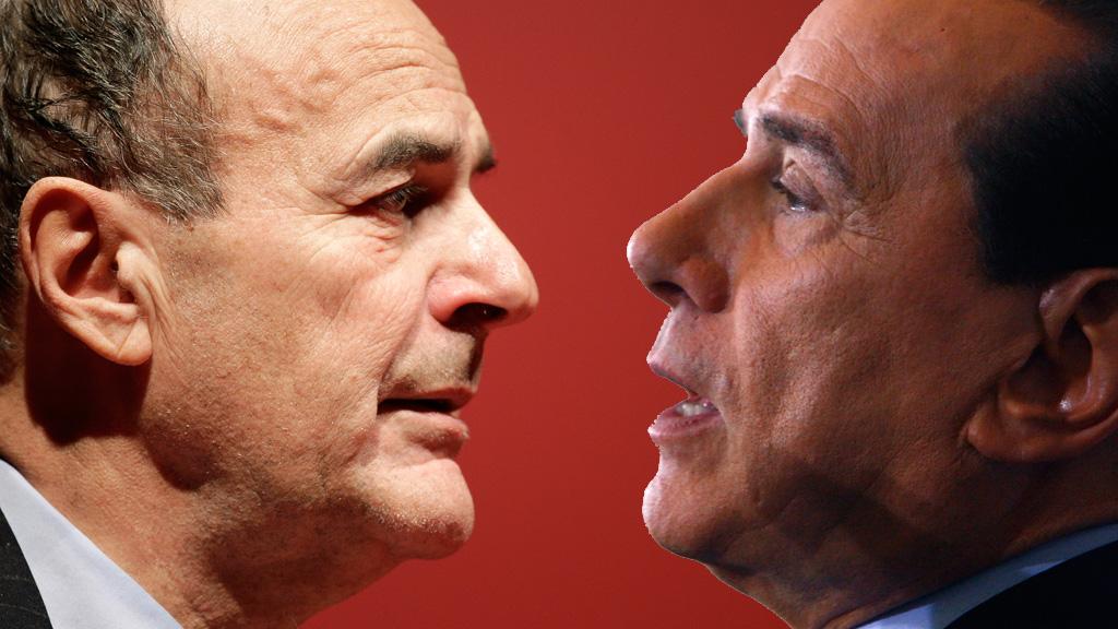 Left to right: Pier Luigi Bersani and Silvio Berlusconi (pictures: Reuters)
