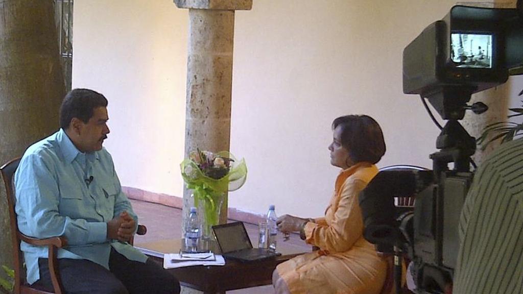 Nicolas Maduro interviewed for Venezuelan television (picture: Reuters)