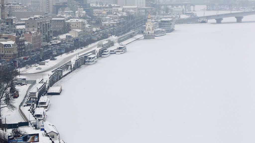 The snow covered River Dniester in Kiev, Ukraine (picture: Reuters)