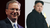 Eric Schmidt and North Korean leader Kim Jong-Un (pictures: Reuters)