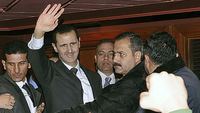 President Assad address Syria on Sunday (pic: Reuters)