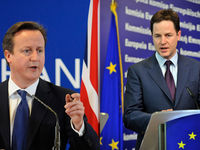 Another fEUd: Nick criticises Mr Cameron's decision to veto a European Union treaty in December 2011 as