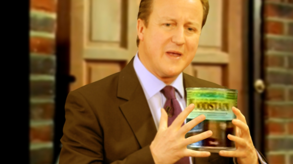 David Cameron as he might look in the famous Ronseal advert.