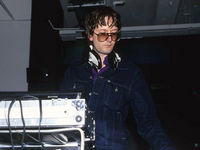 October 1997: Jarvis Cocker of Pulp DJing at HMV on Oxford Street. (Photo by Fred Duval/FilmMagic/Getty Images)