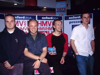 Young new band Coldplay play an instore at HMV on Oxford St, London, in 2000. (Photo by Amanda Edwards/Redferns)
