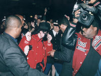 July 1988: Michael Jackson arrives at HMV store in London during his Bad tour in 1988. (Photo by Dave Hogan/Getty Images)