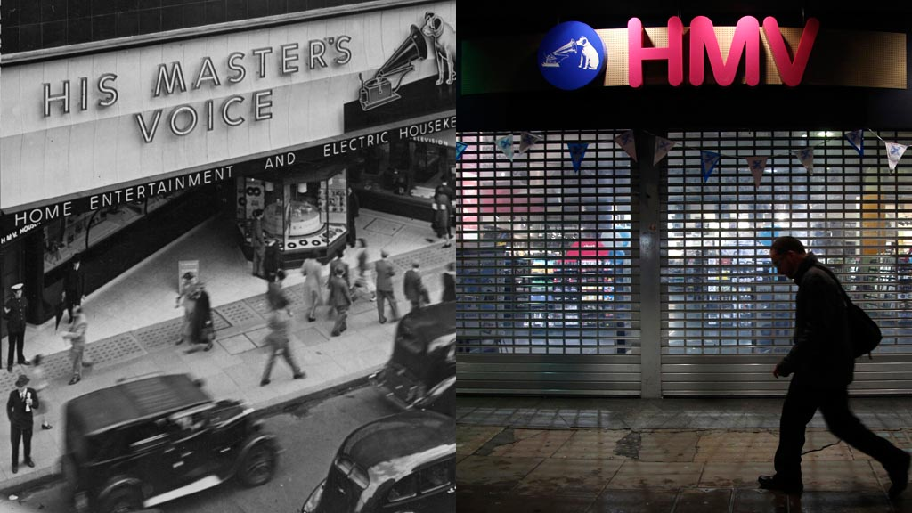 HMV then and now. (Reuters/Getty)