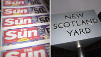 The Sun newspaper and New Scotland Yard (Getty)