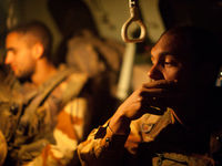 Inside an armoured personnel vehicle with the 21st regiment of the French marines.