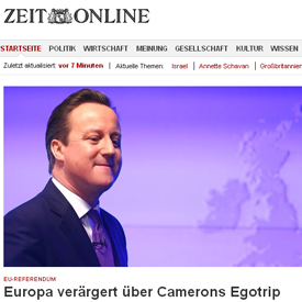 Abroad, it is all seen as an egotrip, as Die Zeit shows (screen grab)