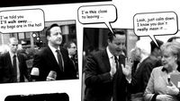 David Cameron and Angela Merkel, re-imagined as a comic strip.