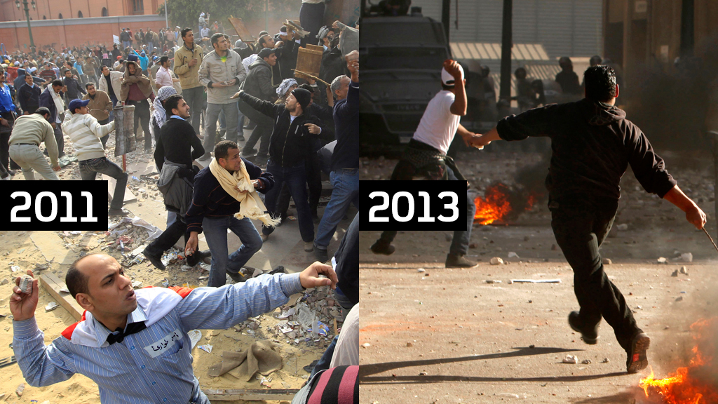 Egyptian riots in 2011 and 2013 (picture: Reuters)