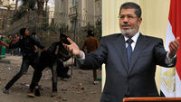 Protestors in Cairo, and president Mohamed Mursi (pictures: Reuters)