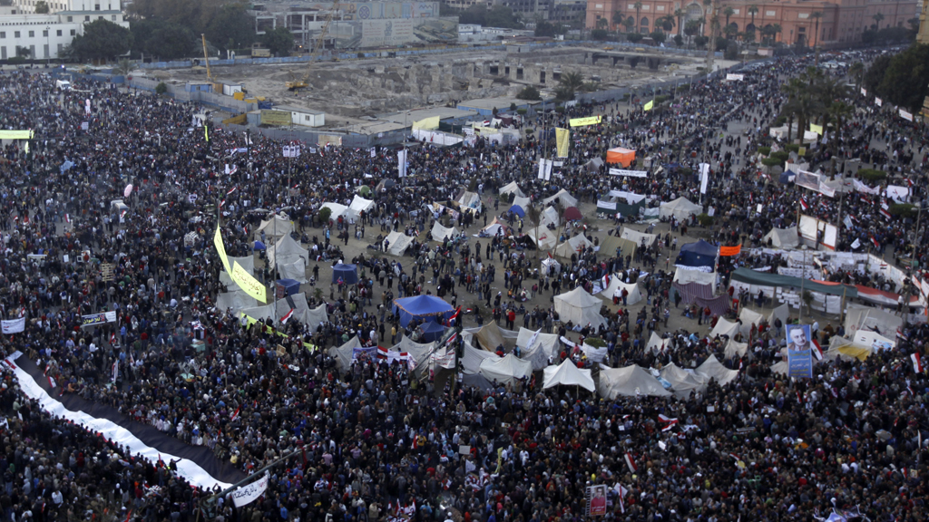 Protestors in Tahrir Square on the second anniversary of the Egyptian uprising (picture: Retuers)