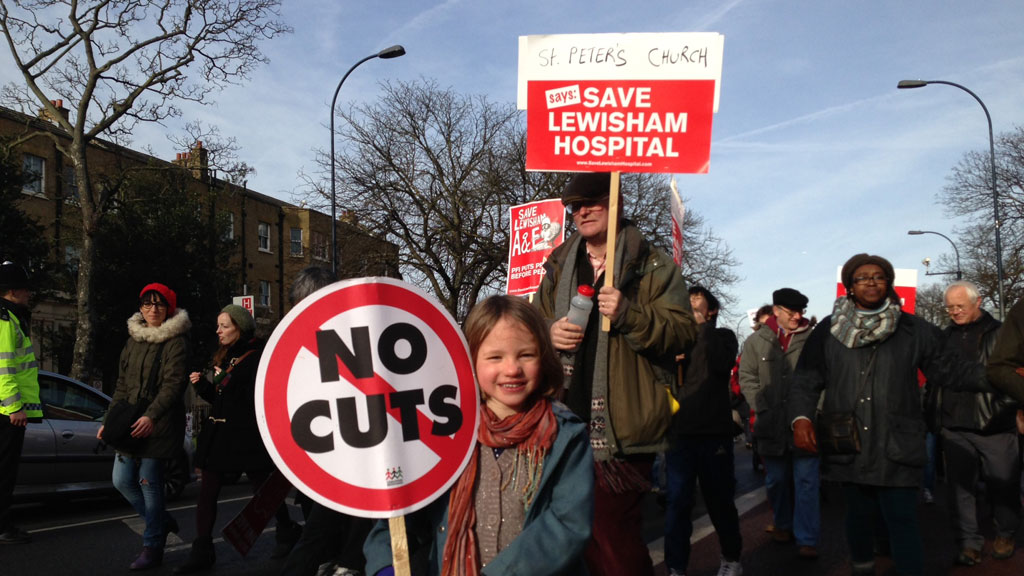 Campaigners march to save Lewisham hospital in January (R)