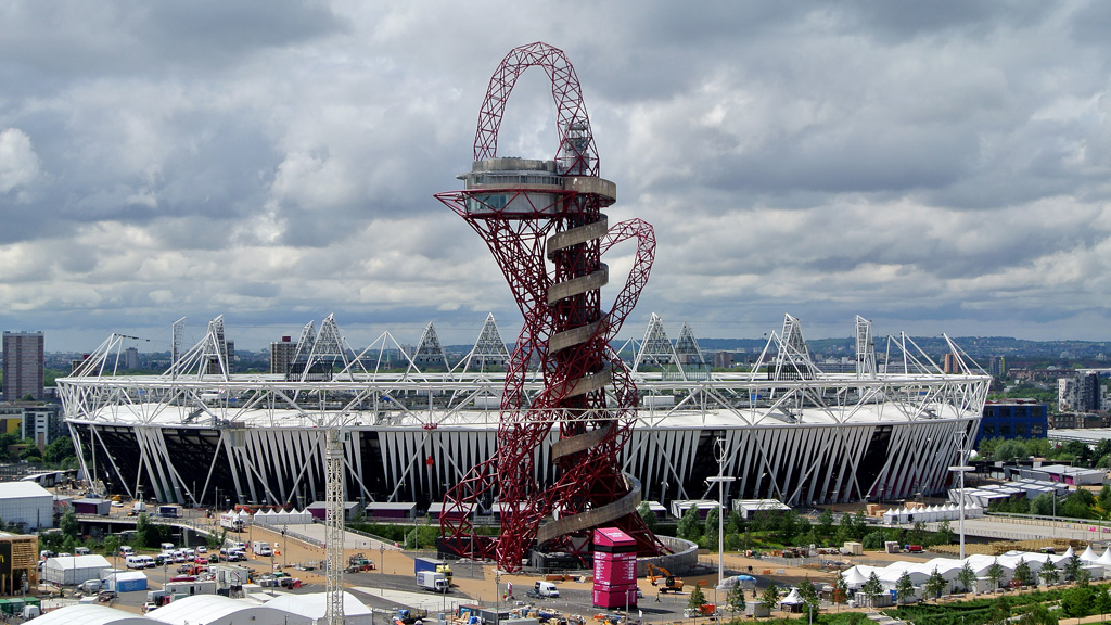 The ArcelorMittal Orbit sculpture, designed by Anish Kapoor, standing in front of the Olympic Stadium in the Olympic Park in London. (Getty)