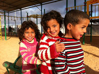Special child friendly zones have been created in the camp to provide playgrounds for Za'atari's vast population of children.