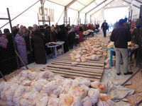 Aid agencies say about a quarter of a million loaves of bread are distributed every day here.
