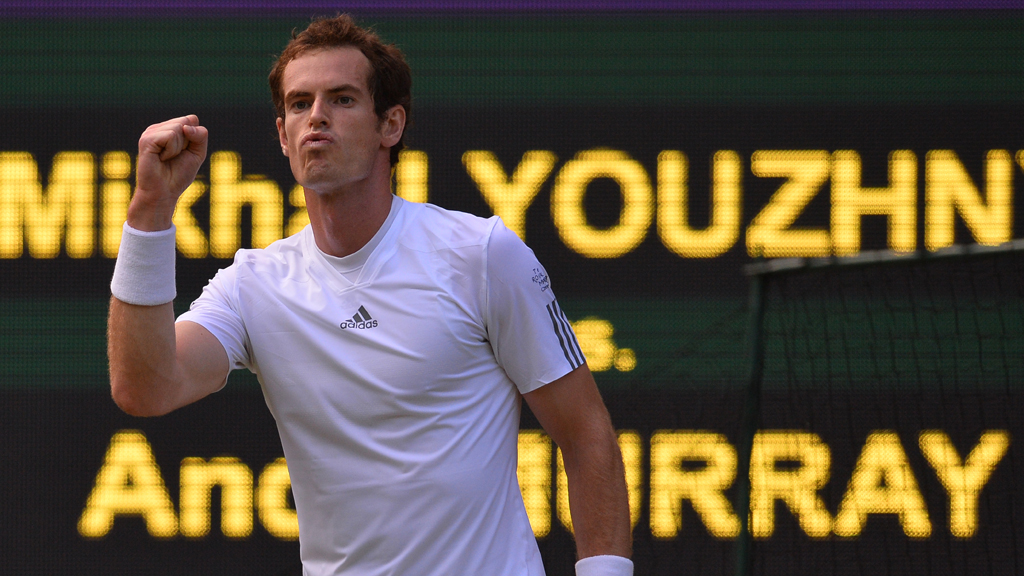 Andy Murray progresses to the quarter finals at Wimnbledon following a victory of Mikhail Youzhny of Russia (picture: Getty)