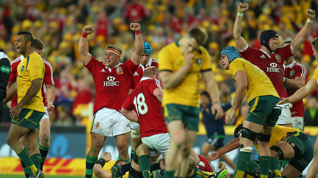 The Lions celebrate the series win as the final whistle blows (pic: Getty)