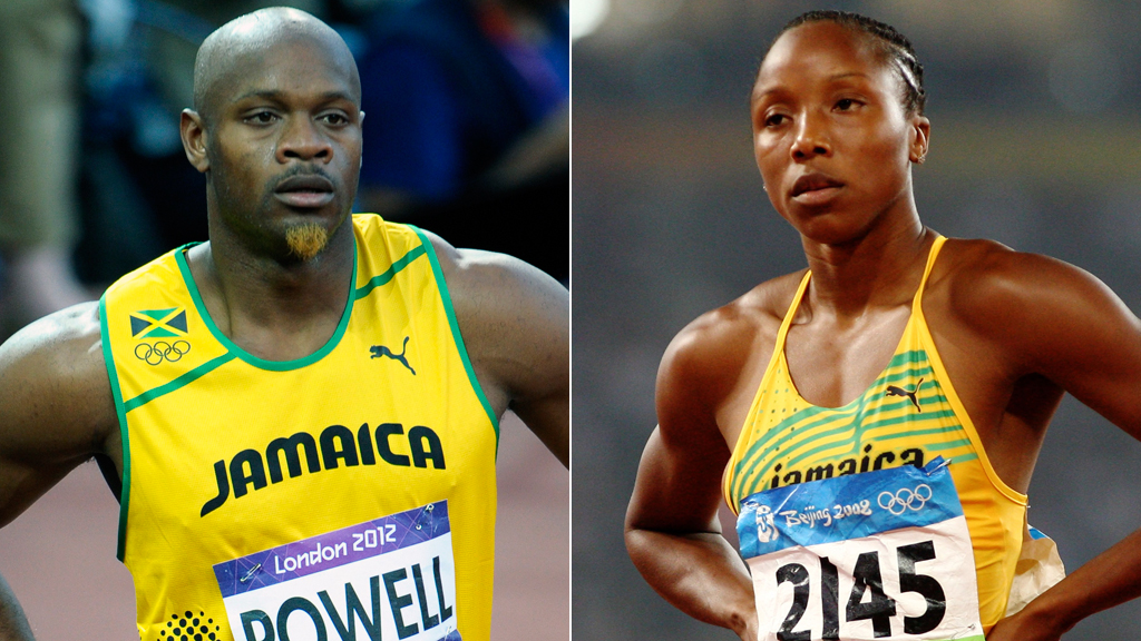 Asafa Poweel and Sherone Simpson test positive for a banned substance (pictures, Getty)