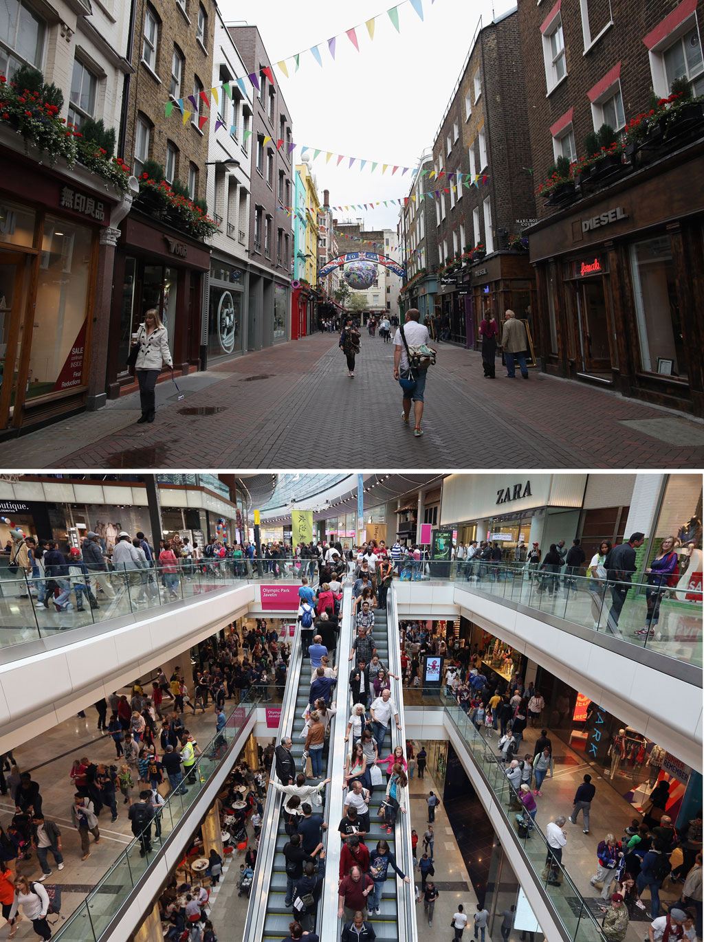 London's streets lay quiet as visitors turn to shopping centre of Westfield next to the Olympic Park (G)