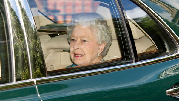 The Queen leaves after visiting her new great-grandson, George (Rex)