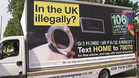 An immigration poster van (pic: Getty)