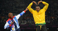 Bolt and Farah swap poses (Getty)