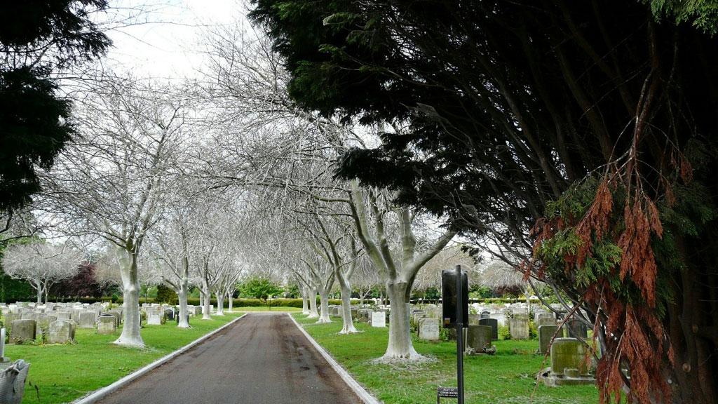 The entrance to Sutton Road cemetery in Southend-on-Sea