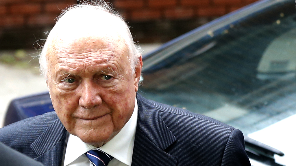 Stuart Hall arrives at court (R)