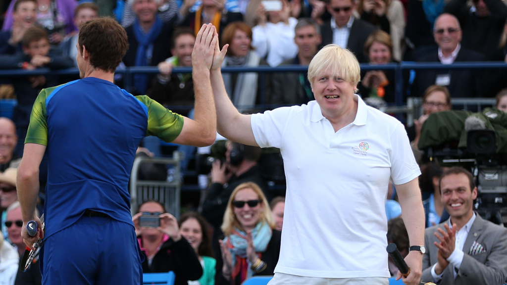 Andy Murray and Boris Johnson play together at Queens Club, London.