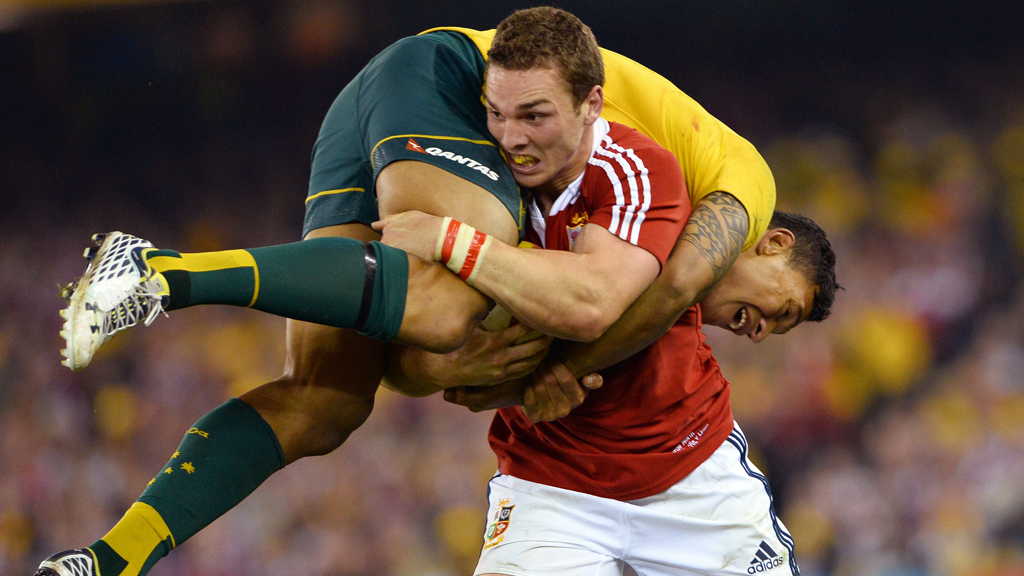 George North carries Falou forward in the Lions match agaisnt Australia (picture: Getty)