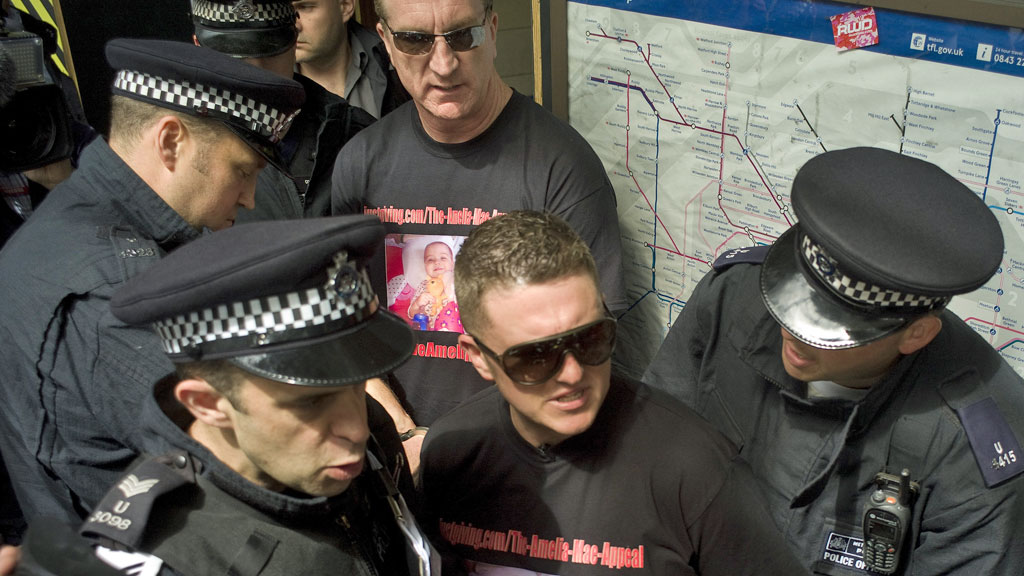 EDL leaders Tommy Robinson and Kevin Carroll arrested in Tower Hamlets on Saturday (picture: Reuters)