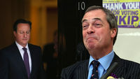 Should David Cameron be worried about the threat of Nigel Farage as Ukip surpasses the Conservatives in the Eastleigh by-election (pictures: Getty)
