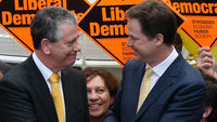 Liberal Democrat leader Nick Clegg celebrates Mike Thornton's