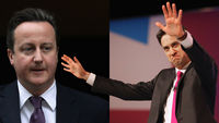 David Cameron would lose nearly 100 seats to Ed Miliband in a general election tomorrow, poll says (pictures: Getty)